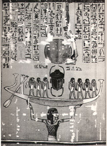Shu (Air) holds Boat of Ra (Sun)